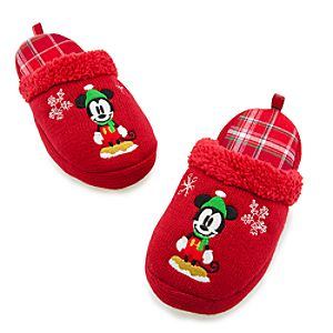 Open Heel Holiday Mickey Mouse Slippers for Adults