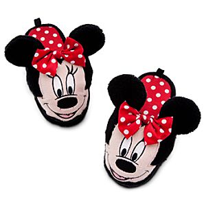 Plush Open Heel Minnie Mouse Slippers for Girls
