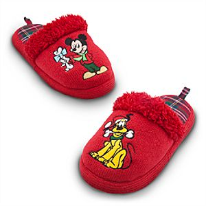 Holiday Pluto and Mickey Mouse Slippers for Kids
