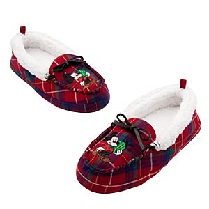 Mickey Mouse Plaid Slippers for Adults