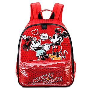 Disney Nostalgia Minnie and Mickey Mouse Backpack