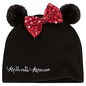Black Knit Minnie Mouse Hat for Girls