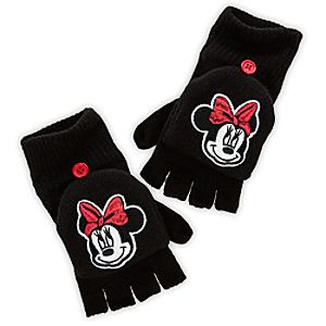 Black Knit Minnie Mouse Gloves for Girls