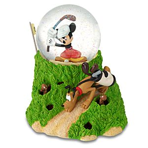 Canine Caddy Mickey Mouse And Pluto Snow Globe