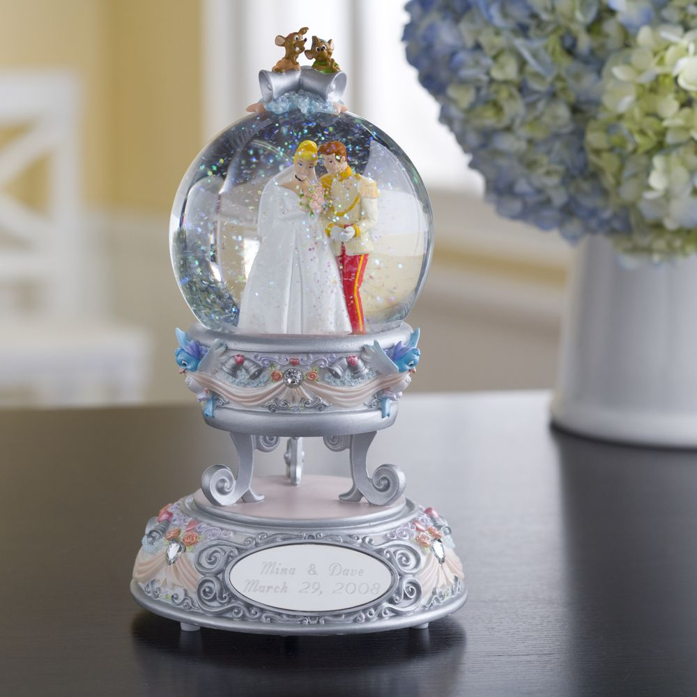 Disney Wedding Gift Card Box : Disney Snowglobe Personalized Wedding Cinderella Globe NIB beautiful ...